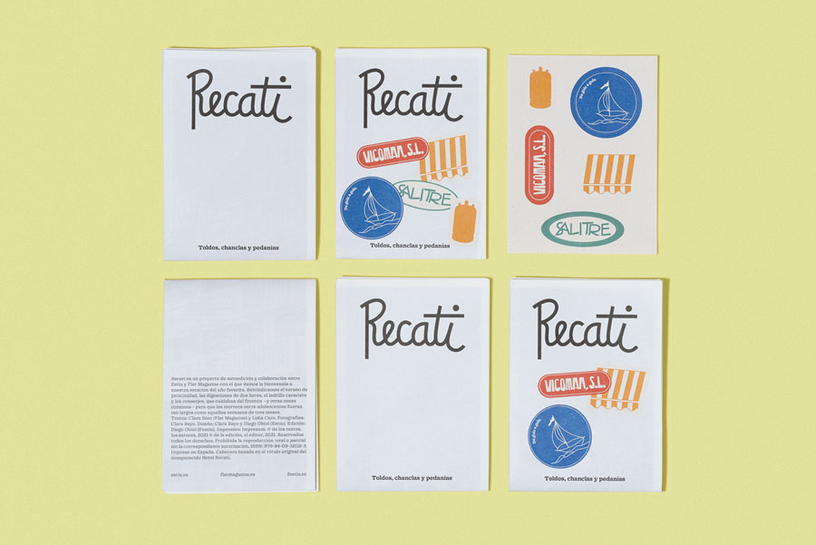 Vicente Lara Fotografía y Comunicación Visual - Fotografía de la publicación Recatí de Festiu en colaboración con Flatmagazine. Fotografía de varios ejemplares anverso y reverso.